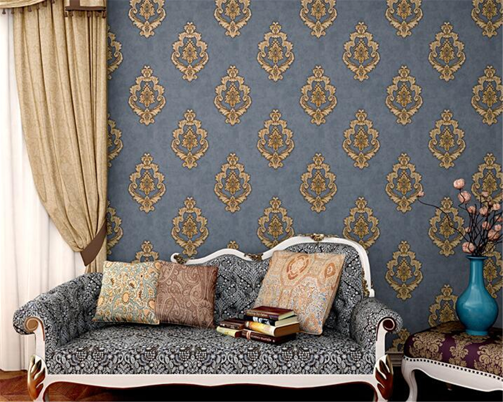Beibehang European style retro relief Damascus 3d wallpaper living room bedroom TV wall wallpaper for walls 3 d papel de parede beibehang blue retro nostalgia wallpaper for walls 3d modern wallpaper living room papel de parede 3d wall paper for bedroom