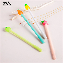 4pcs/lot Simple and fresh fruit pie Gel pen Black signature Student Office Signature Pencil color gift