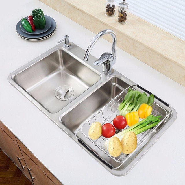 Attrayant Stainless Steel Dish Rack Over Sink Adjustable Arms Holder Utensil Drainer  Functional Drying Organizer Vegetable Fruit