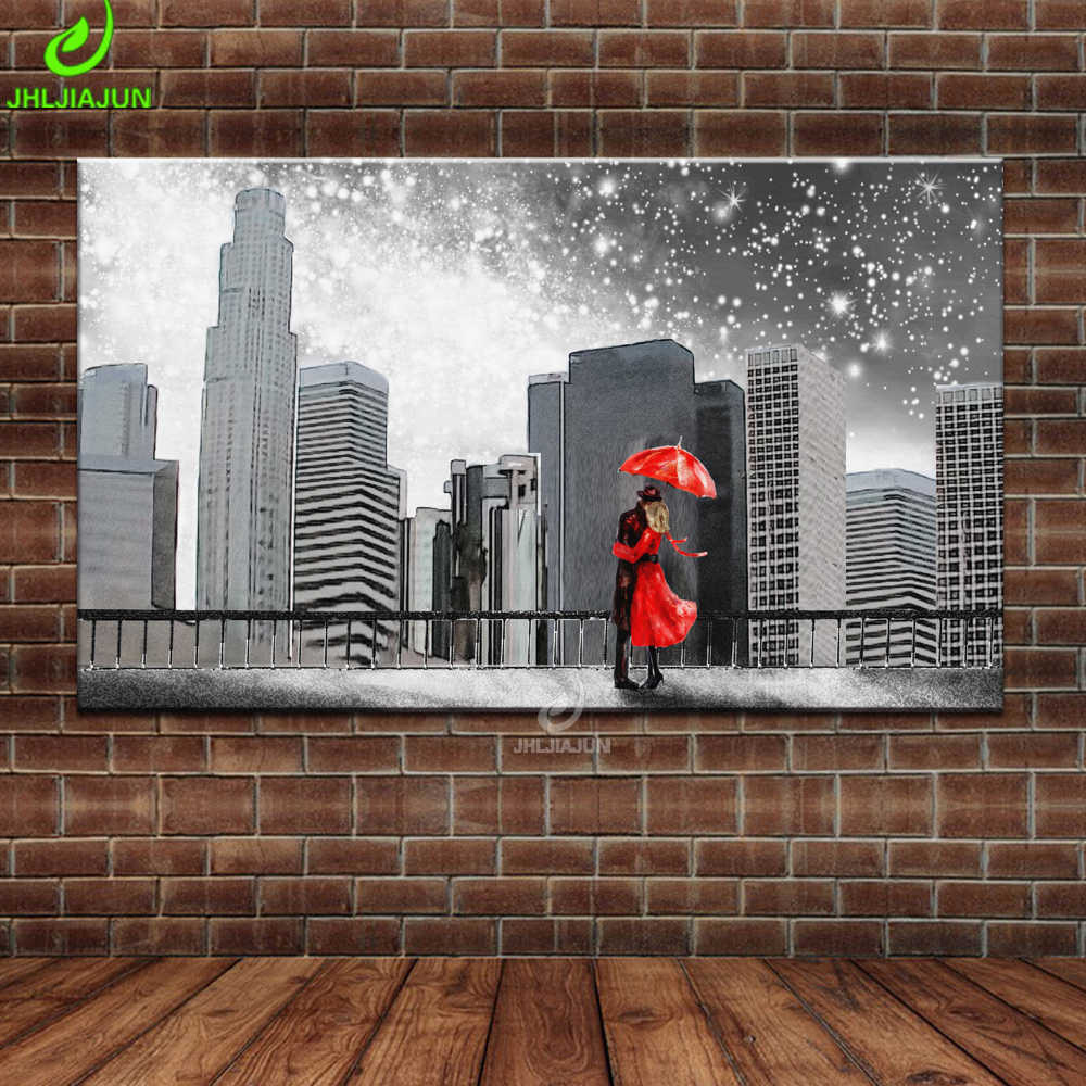 Canvas Pop Art Painting New York Street Poster Print Love Couple Kissing Parlor Wallpaper Vintage Movie Decoration Poster