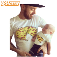 Fashion Pizza Short Sleeve Family Matching Clothes Dad Daughter Clothes T Shirt Family Father Son Baby