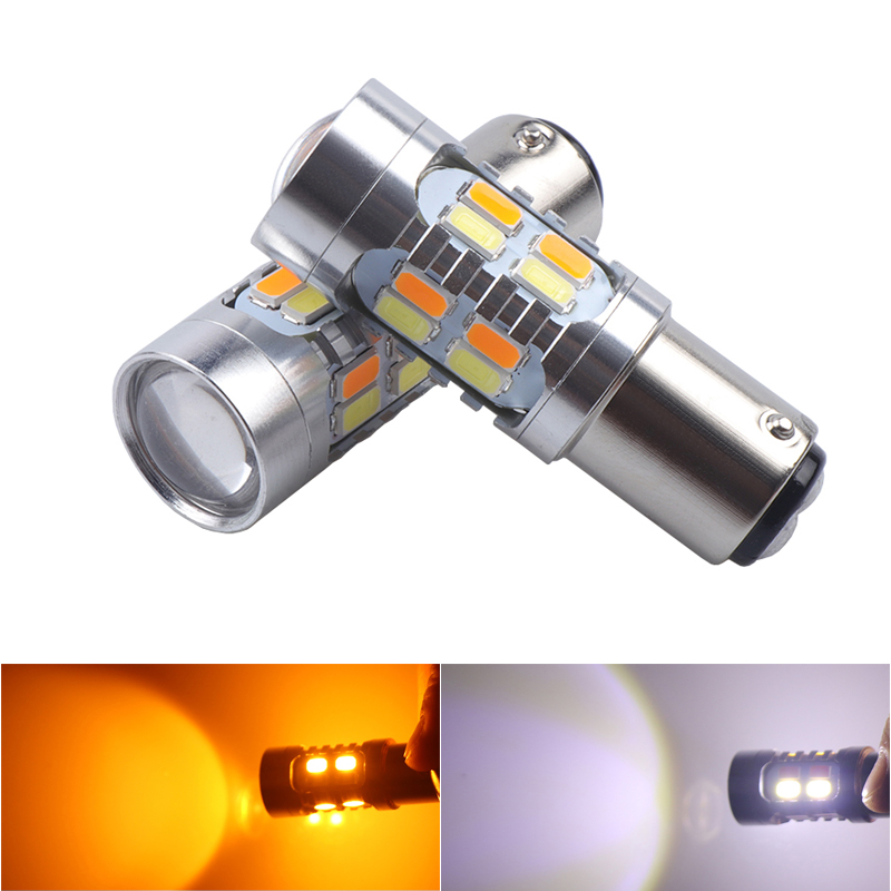 Niscarda 2x 1157 5630 20smd High Power Dual Color White Amber Yellow Switchback LED DRL Turn Signal Parking Light Bulbs