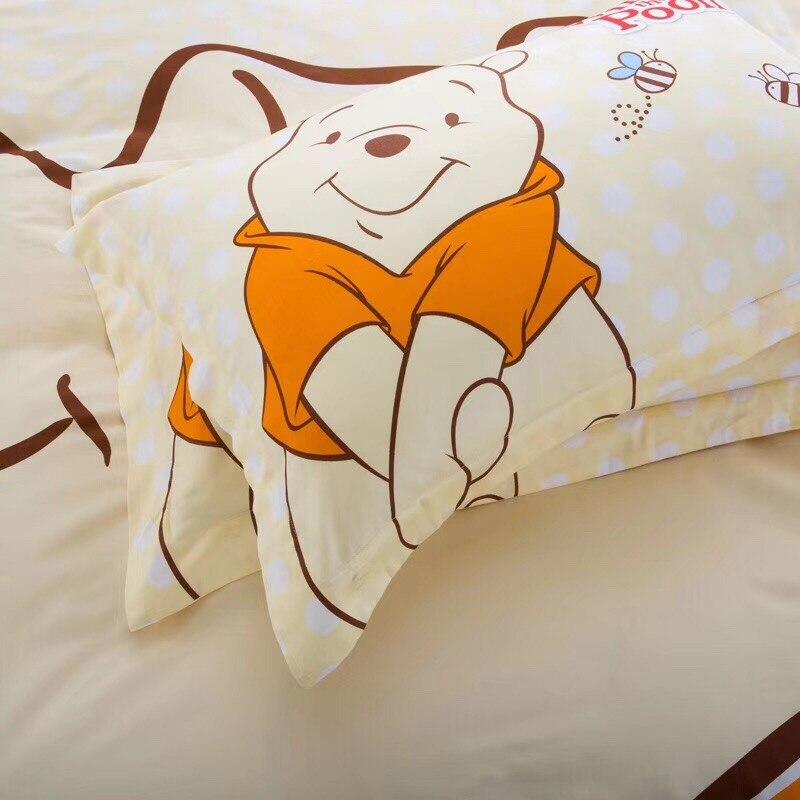 Dibujos animados de Disney amarillo Winnie Baymax Minnie Mouse 3D imprimir ropa de cama juego de edredón funda de almohada 100% algodón-in Juegos de ropa de cama from Hogar y Mascotas    3