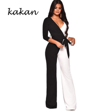Kakan spring new womens jumpsuit black and white colorblock sexy wide-leg female