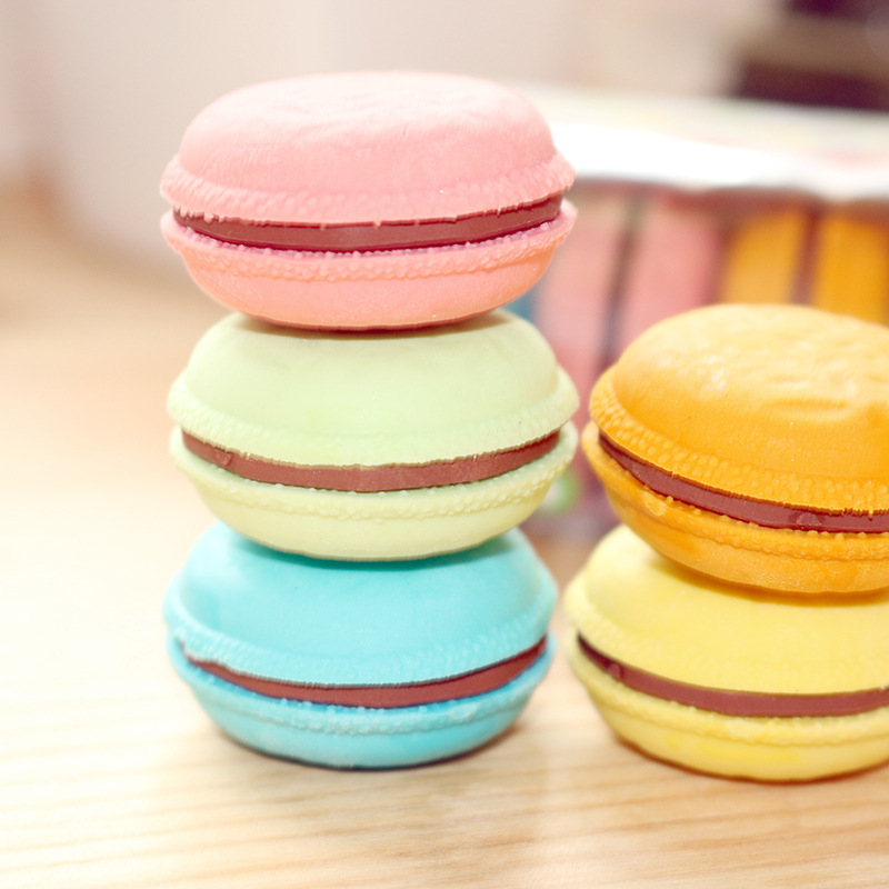 5 Candy Color Copy Macaroon Pencil Eraser Kawaii Cartoon School Students Office Stationery Colorful Hamburger Soft Rubber Eraser