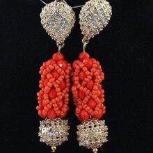 Handmade Vintage Orange Crystal Nigerian Women Bead Jewelry Set