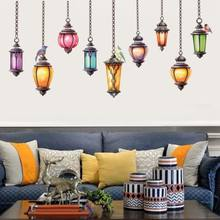 2018 Colorful Hanging Lamp Wall Stickers Home Decals Exotic Stickers Art Home Room Vinyl Decor Wall Stickers 1PC 60X90CM(China)