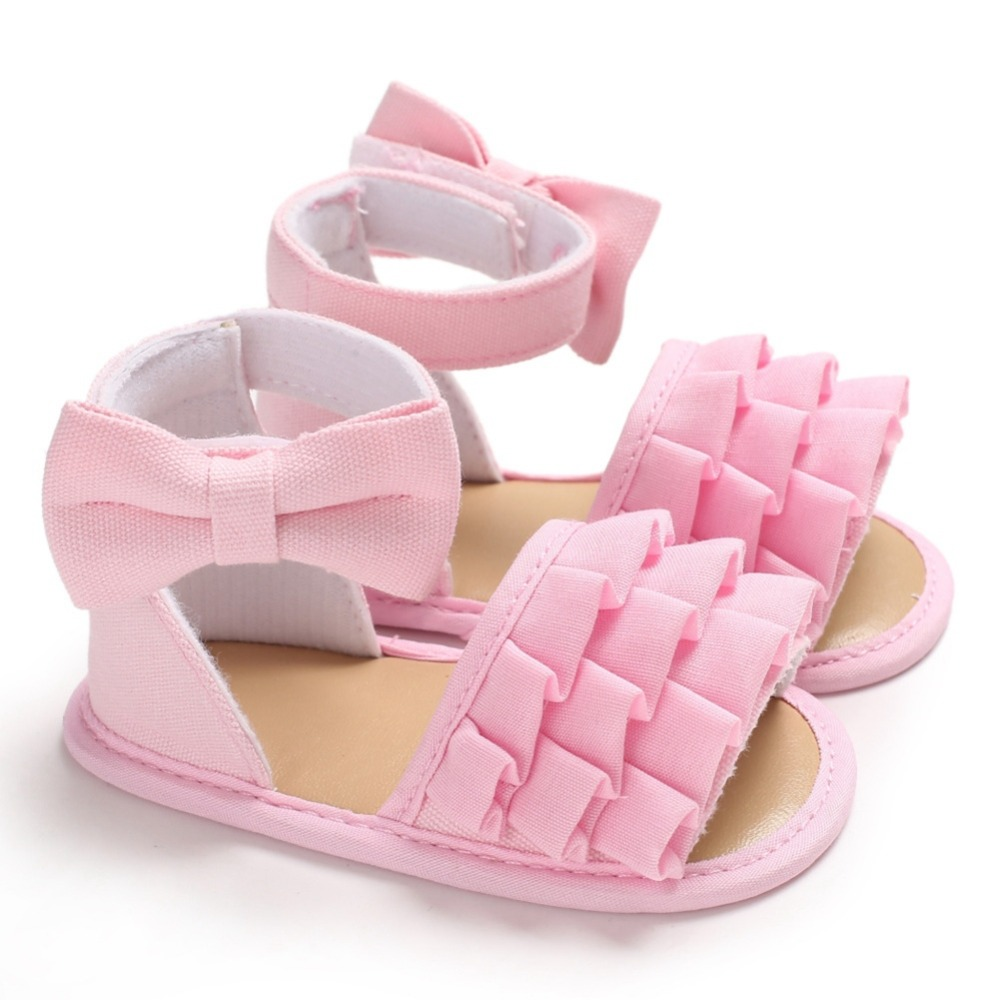 Summer Baby Girl Sandals Breathable Anti-Slip Bowknot Shoes Toddler Soft Soled For First Walkers 0-18M New
