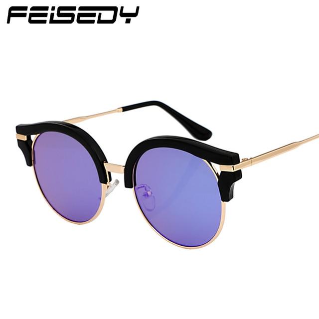 72027299e6b3 FEISEDY New Cat Eye Sunglasses Women Brand Designer Fashion Vintage Round  Circle Sun Glasses Floral Frame Lunettes Gafas