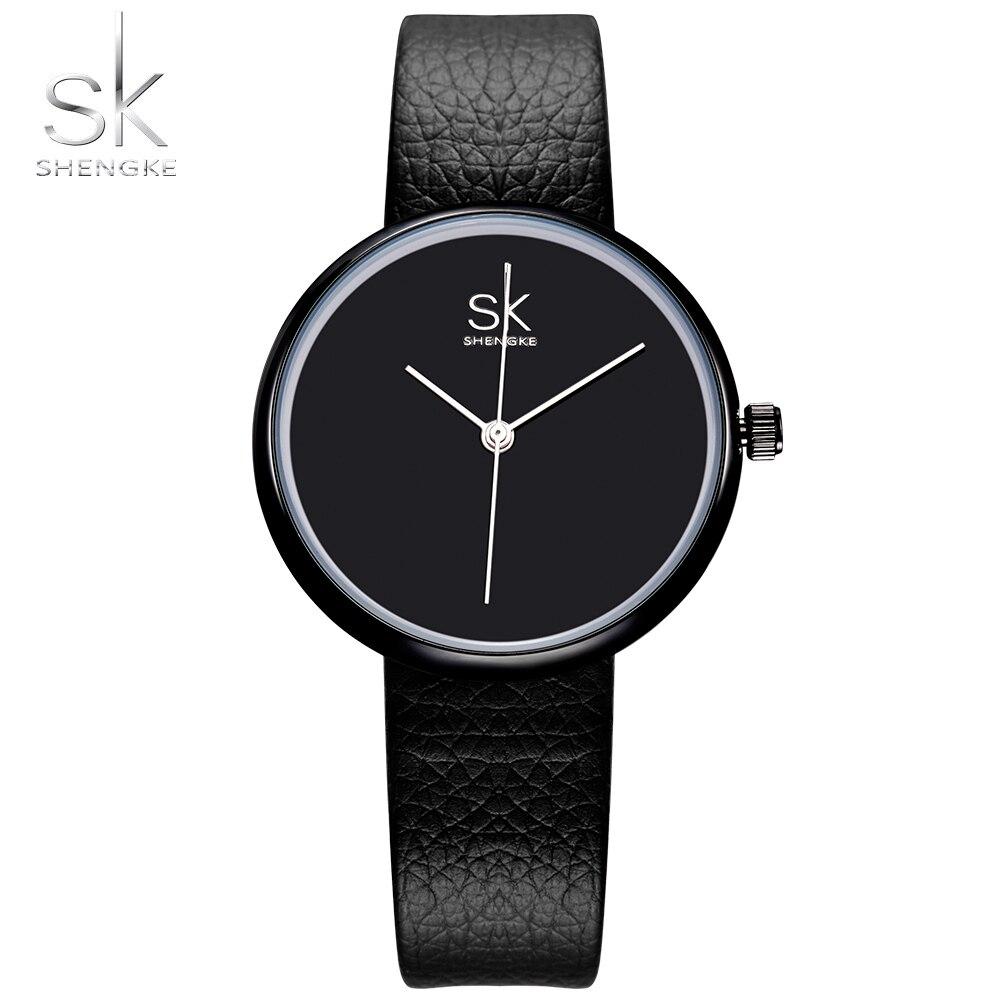 Shengke Watches Women Quartz Clock Top Brand Watches Leather Women Watch Causal Black White Simple Wristwatch Montre Femme 2017
