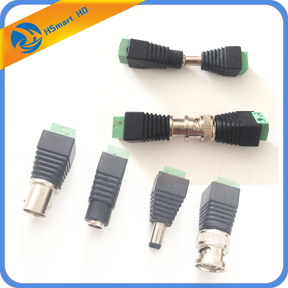 цена на 1 Set CAT5 To BNC Video And Power Balun Transceiver Connectors Male+Female BNC Connector Terminal Coax CAT5 CCTV Camera DVR Kits