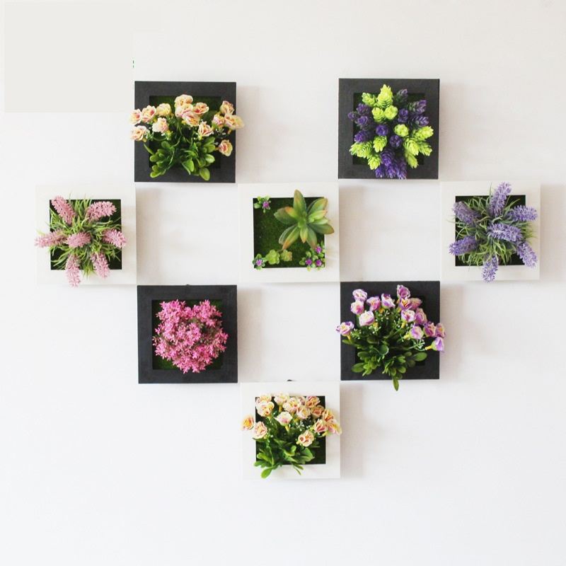 1 Pcs 3D Plant Wall Sticker Home Decor Wall Artificial Flowers Frame Fake Plant Wall Art Mural Living Room/Wedding Decoration