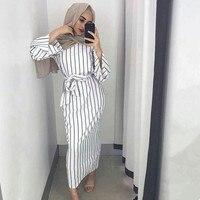 Plus Size Muslim Adult Sriped Fashion Robe Musulmane Turkish Dubai Abaya Muslim Robe Arab Worship Service