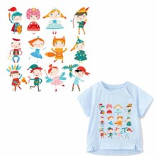 Cartoon Patch Iron-on Transfers Patches for Kids Clothing DIY T-shirt Applique Heat Transfer Vinyl Stickers on Child Clothes цена