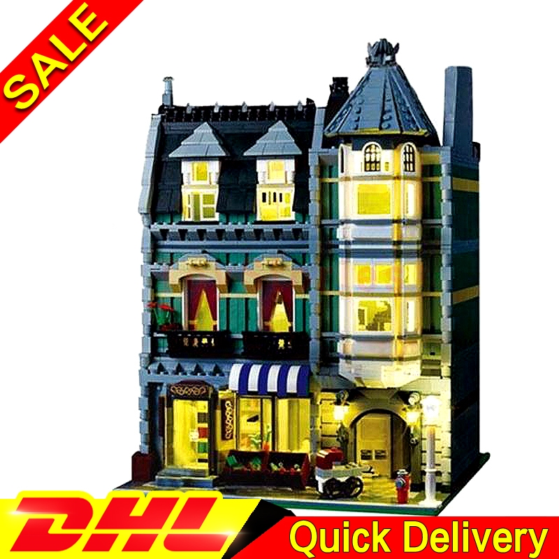 New With light Lepin 15008 15008B City Street Green Grocer Model Building Kits Blocks Bricks Educational legoings toys 10185 lepin 15008 15008b 2462pcs city street green grocer model building kits blocks bricks compatible educational toys 10185