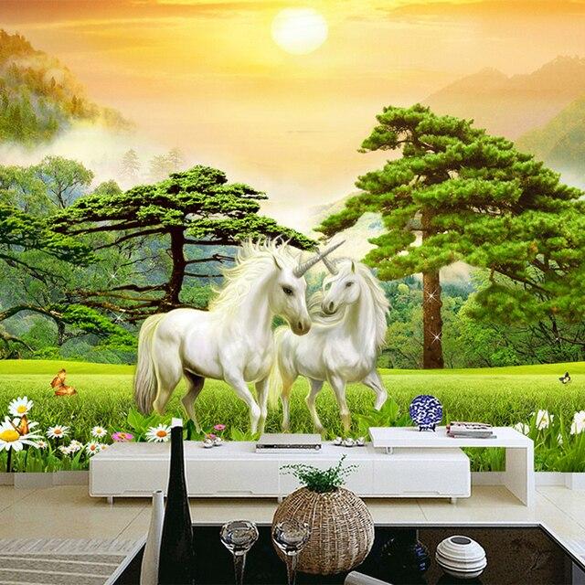 Lieblich Foto Tapete 3D Weiß Pferd Grünen Wald Natur Landschaft Wandmalereien  Wohnzimmer TV Sofa Hintergrund Wand Malerei
