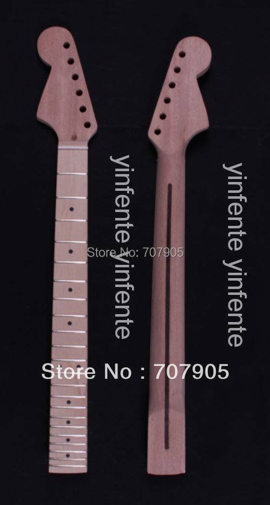 1x Electric guitar neck Mahogany Maple wood Fretboard Truss Rod 22 fret 25.5 Unfinished   Dropshipping Wholesale 6pcs steel double truss rod for electric guitar luthier two way adjustment