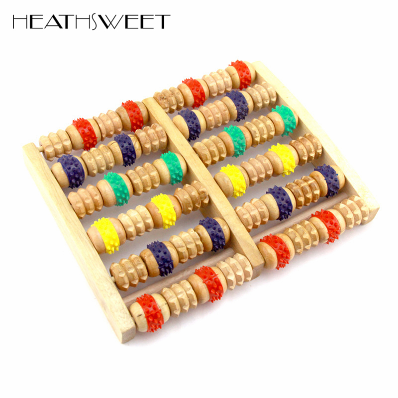 Healthsweet 12 Wheels Wooden Foot Roller Massager Reflexology Acupressure For Stress Relief Body Massage Device Foot Instrument synthia andrews acupressure and reflexology for dummies