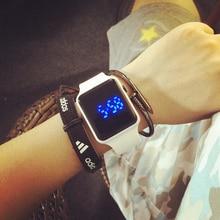 Новинка дизайн с сенсорным экраном из светодиодов часы мужчины и женщины наручные часы спорт конфеты цвет силиконовые дети цифровые часы часы AZ100