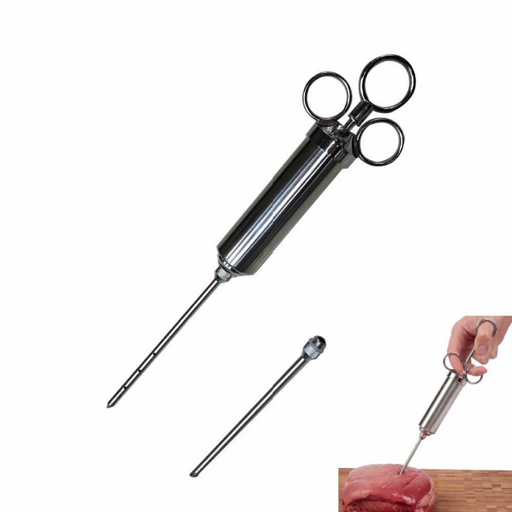 2OZ Stainless Steel Meat Marinade Injector Flavor BBQ Turkey Pork Syinge with Liquid Minced Marinade Needles 11 11 free shippinng 6 x stainless steel 0 63mm od 22ga glue liquid dispenser needles tips