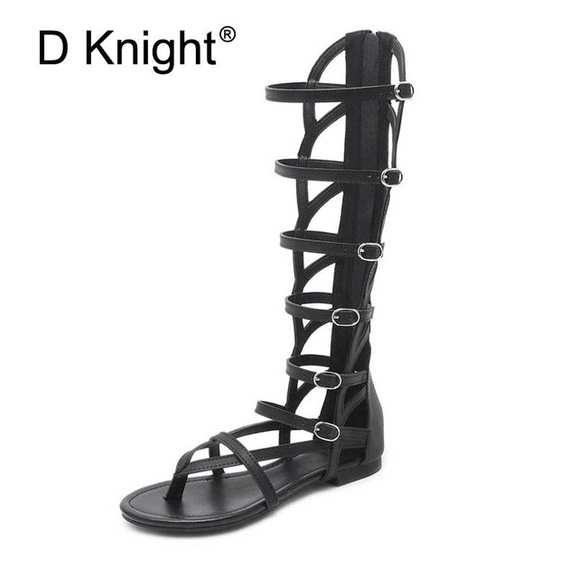 53653f8274b Gladiator Sandals Summer Style High Ankle Strap Calf Woman Sandals Slip On  Casual Sexy Flip Flops Women Shoes Black Big Size 40