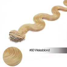 14″ 16″ 18″ 20″ 22″ 70g Wavy Bleach Blonde Color 60 Full Head Clip in Real Human Hair Extension Body Wave Natural Human Hair