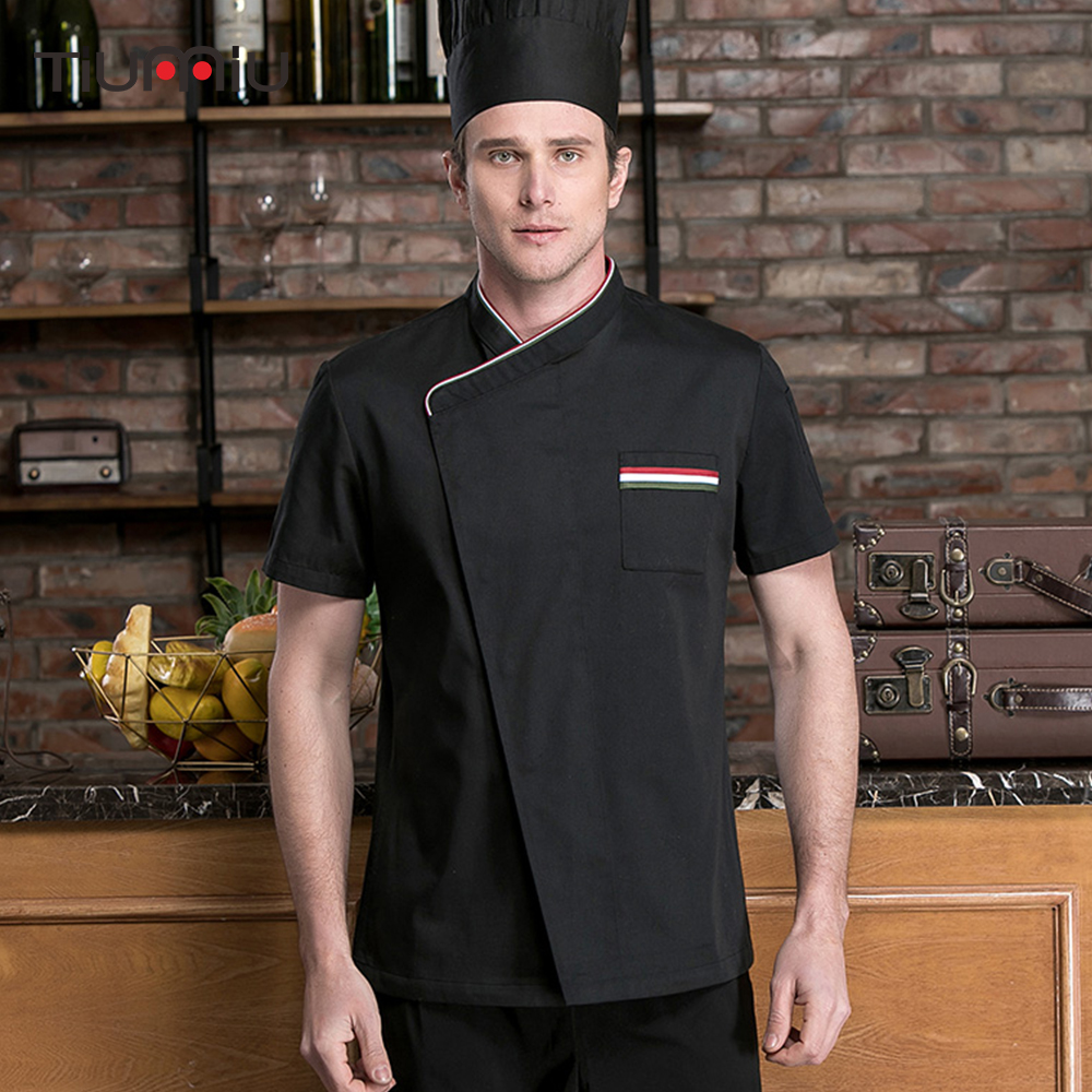 Chef Short Sleeve Jacket Restaurant Uniform Food Service Catering Restaurant Kitchen Sushi Cooking Bakery Overalls Workwear Coat