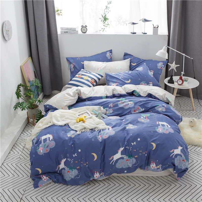 100% Cotton Printed Lovely animals Unicorn Bedding set 3/4pcs High-quality Duvet Cover set Bed Sheet Pillowcases Twin Queen Size100% Cotton Printed Lovely animals Unicorn Bedding set 3/4pcs High-quality Duvet Cover set Bed Sheet Pillowcases Twin Queen Size