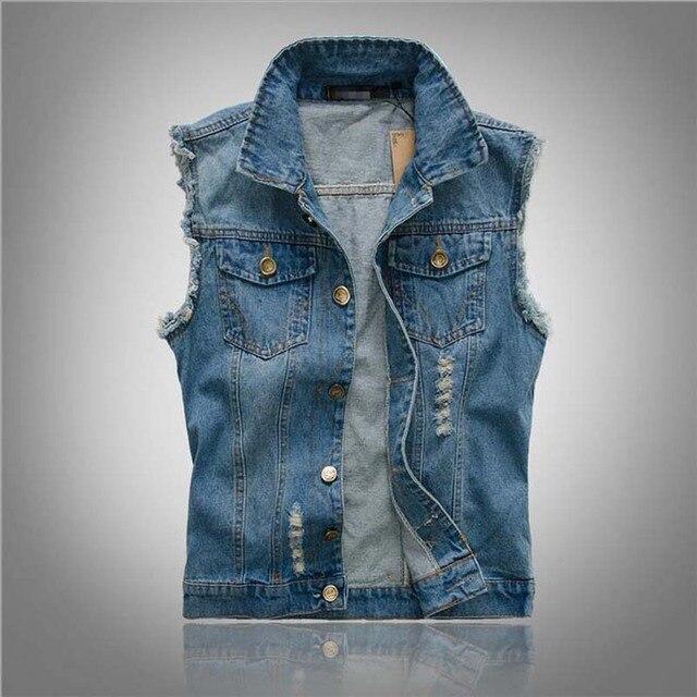a2a9905841b3 Mens Equipado Colete Jeans Com Bolsos Rasgados Coletes Sem Mangas Jaqueta  Casual Fino Colete Tamanho Grande
