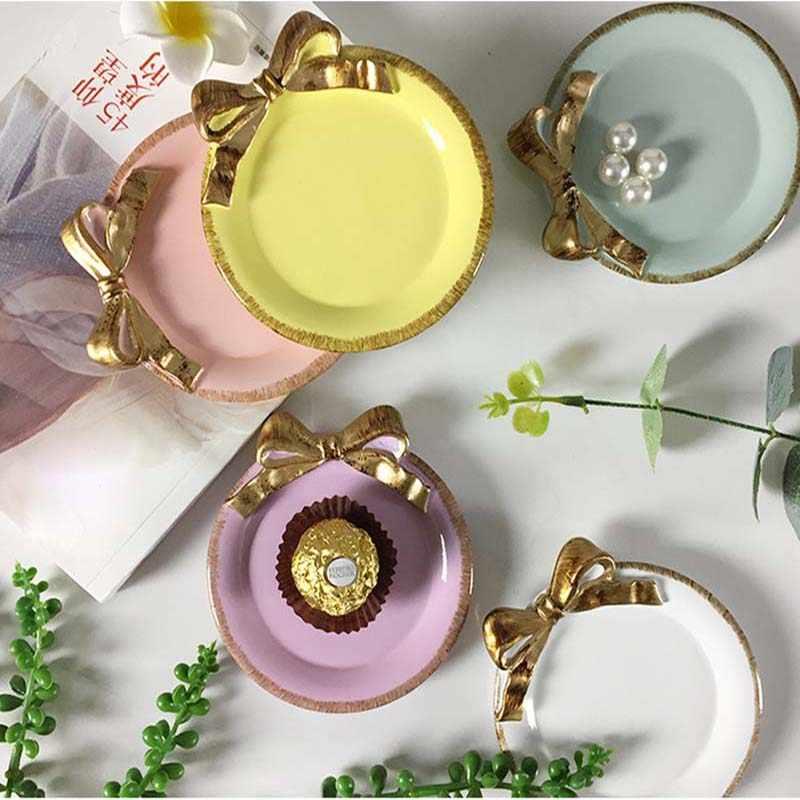 NIS Ретро лоток для хранения смолы креативный конфетный цвет Ювелирное Украшение ожерелье с бантом тарелка для хранения десерта домашний офис настольный декор мини поднос
