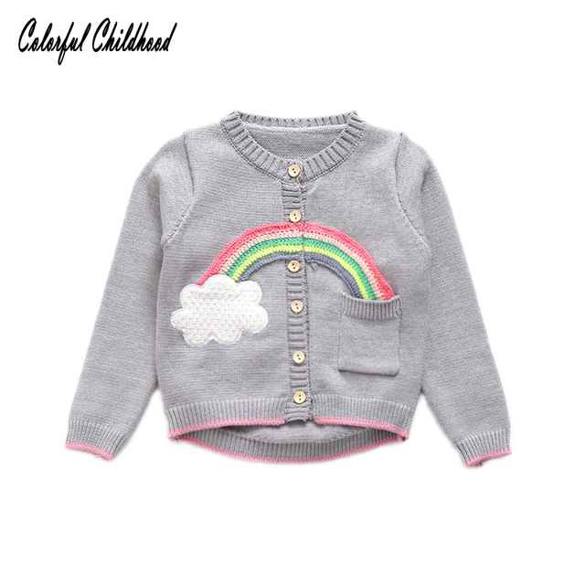 a5d88a6c0e3d Girls Clothing 2017 Autumn Spring Children Sweaters Rainbow Cardigan ...