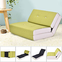 Giantex Modern Convertible Split Back Linen Futon Sofa Bed Couch Recliner Sleeper 5 Position Living Room Furniture HW52681GN