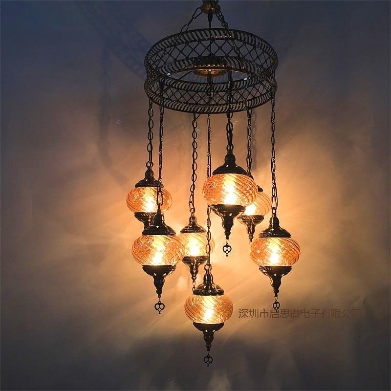 3/5/7 Heads Turkey ethnic customs Pendant lamp romantic Hotel cafe restaurant bar Pendant light living room balcony stairs lampe Pendant Lights     - title=