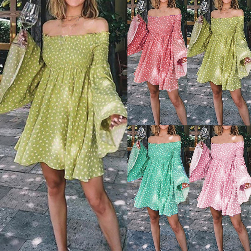 Autumn New Fashion Women Ladies Loose Off Shoulder Print Long Sleeve Mini Dress Summer Dress платье Wholesale Free Ship Z4