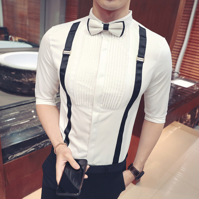 Men Pleat shirt with bowtie stylish wedding party