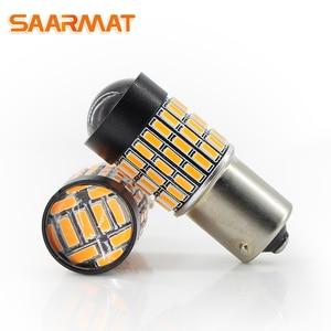 Светодиодные лампы 1156PY BAU15S S25 7507 PY21W RY10W 1500lm 72smd для автомобиля Поворотная сигнальная задняя лампа желтый bau15s (2 шт.) SAARMAT