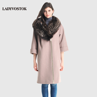 LADYVOSTOK 2016 New Autumn Winter Wool Long Woman Coat Fur Coat With Fur Collar Zipper Loose