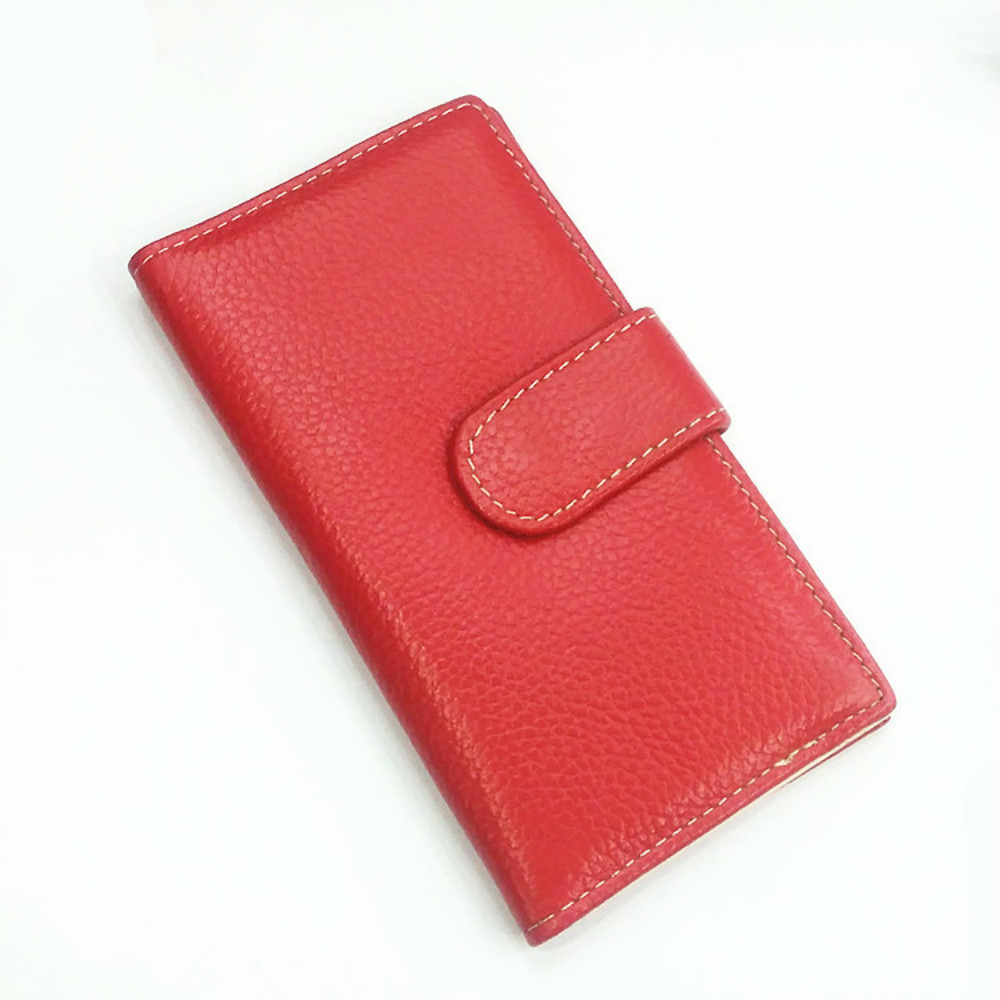 Women Colour Genuine Leather Card Holder Long Purse Multiple