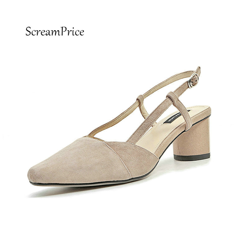 Women Suede Buckle Strap Comfortable Square Heel Sandals Fashion Pointed Toe Dress Party Summer Shoes Black Apricot amourplato women s fashion pointed toe high heel sandals crisscross strap pumps pointy dress shoes black purple size5 13