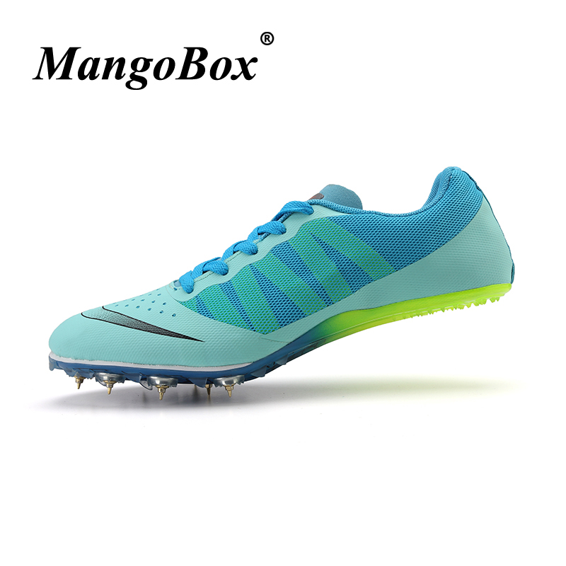 Couples Track and Field Shoes Sky Blue Green Spikes Shoes Athletics Woman Spring Summer Lightweight Male Running Nails Sneakers