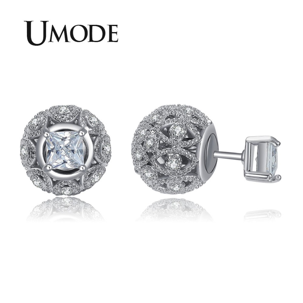 UMODE Retro Hollow Ball Double Sided Earring Piercing Stud Earrings for Women Vintage Jewellery Mother's Day Gifts Party UE0244