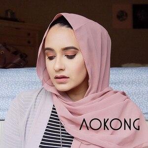 Image 2 - 10 Cái/lốc Cho Nữ Đồng Bằng Bong Bóng Voan Hijab Khăn Len Mềm Mại Dài Hồi Giáo Foulard Khăn Choàng Hồi Giáo Georgette Khăn Hijabs