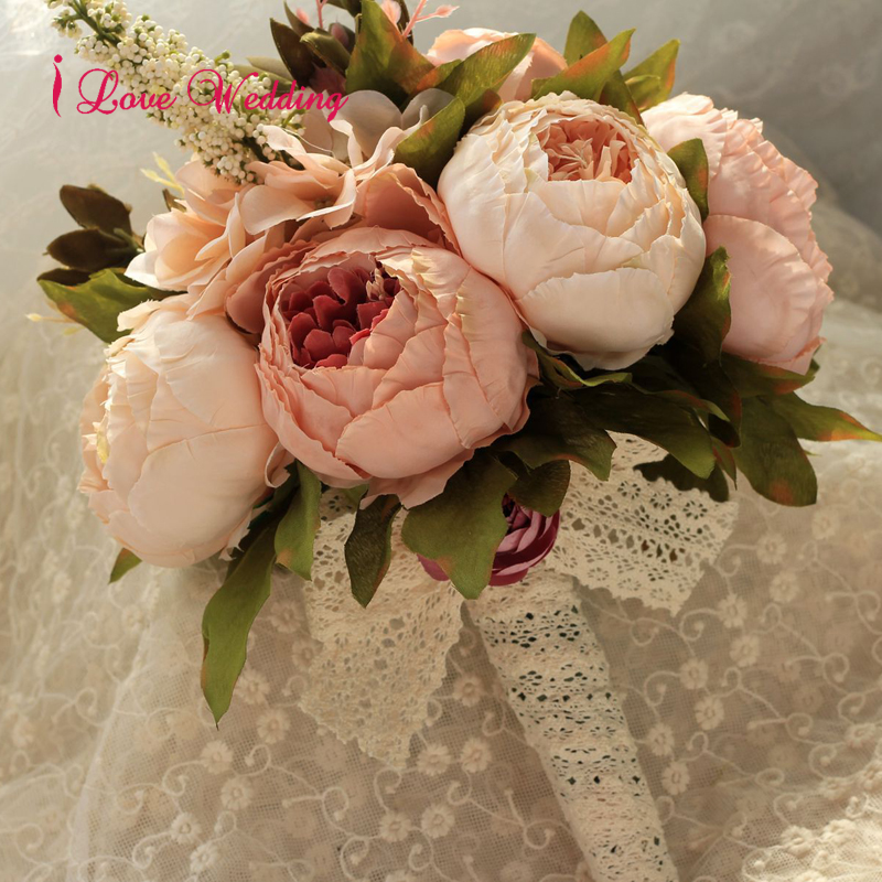 Beautiful Wedding Flowers Bridal Bouquets Artificial Silk bouquet de mariage Handmade Pink Red with Lace Handle