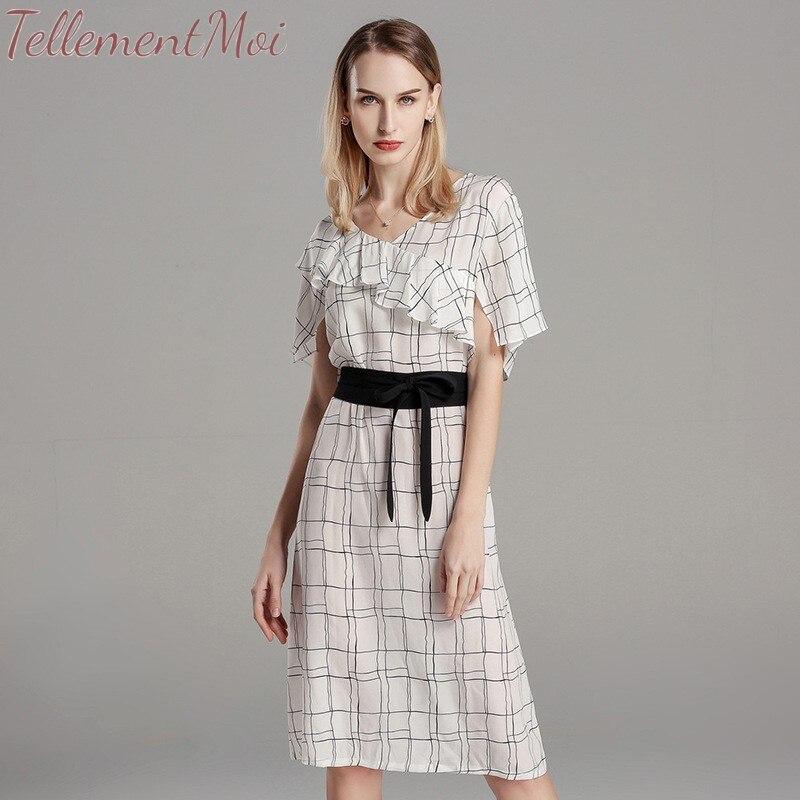Femmes robe mi-longue géométrique imprimé robes d'été en soie à manches courtes Vestidos Mujer bureau dame Slim a-ligne élégante robe 2019