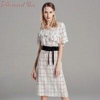 Women Midi Dress Geometric Print Summer Dresses Silk Short Sleeve Vestidos Mujer Office Lady Slim A line Elegant Dress 2019