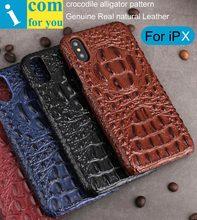 Крокодил Аллигатор Pattern задняя крышка для iPhone X Ретро Винтаж реального натуральная кожа В виде ракушки