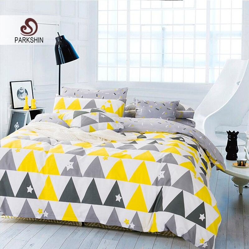 Parkshin nordique style ensembles de literie 100 coton for Housse de couette gris jaune