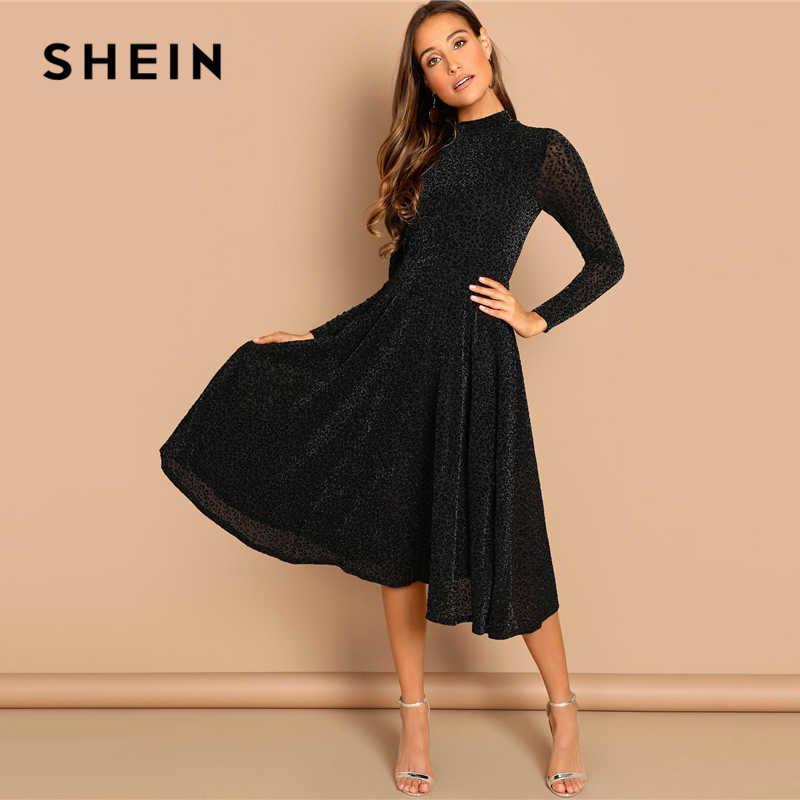 72700525ede SHEIN Black Sheer Sleeve Glitter Dress Elegant Plain Stand Collar Long  Sleeve Dresses Women Autumn Modern