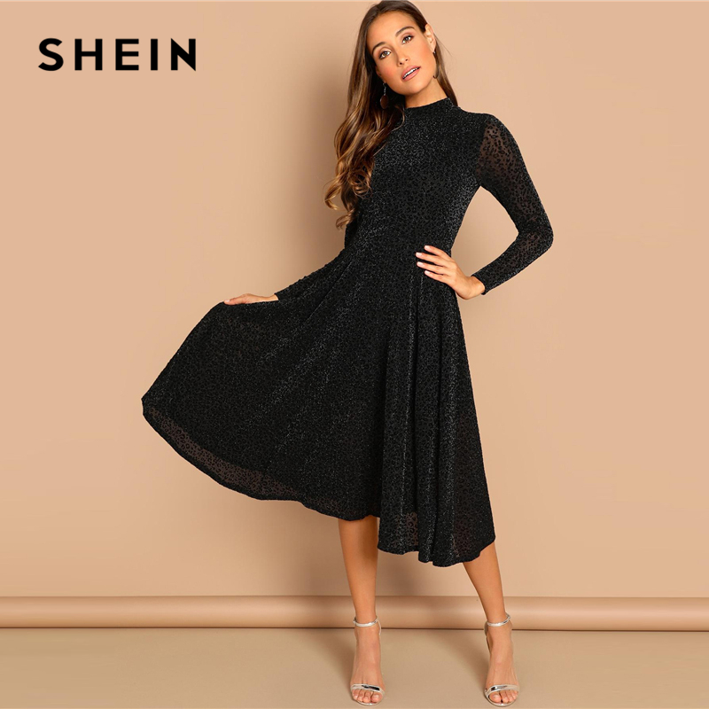 06731ae766 SHEIN Black Sheer Sleeve Glitter Dress Elegant Plain Stand Collar Long  Sleeve Dresses Women Autumn Modern Lady Party Dress