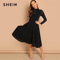 feba0d621967d SHEIN Black Sheer Sleeve Glitter Dress Elegant Plain Stand Collar Long  Sleeve Dresses Women Autumn Modern